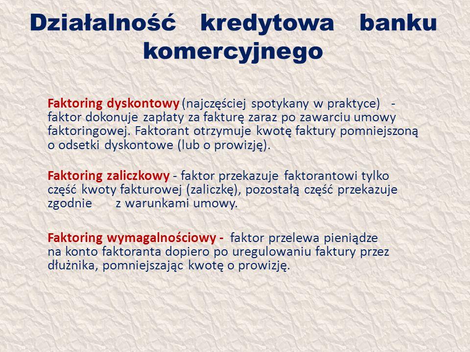 Działalność kredytowa banku komercyjnego Faktoring dyskontowy (najczęściej spotykany w praktyce) - faktor dokonuje zapłaty za fakturę zaraz po zawarci