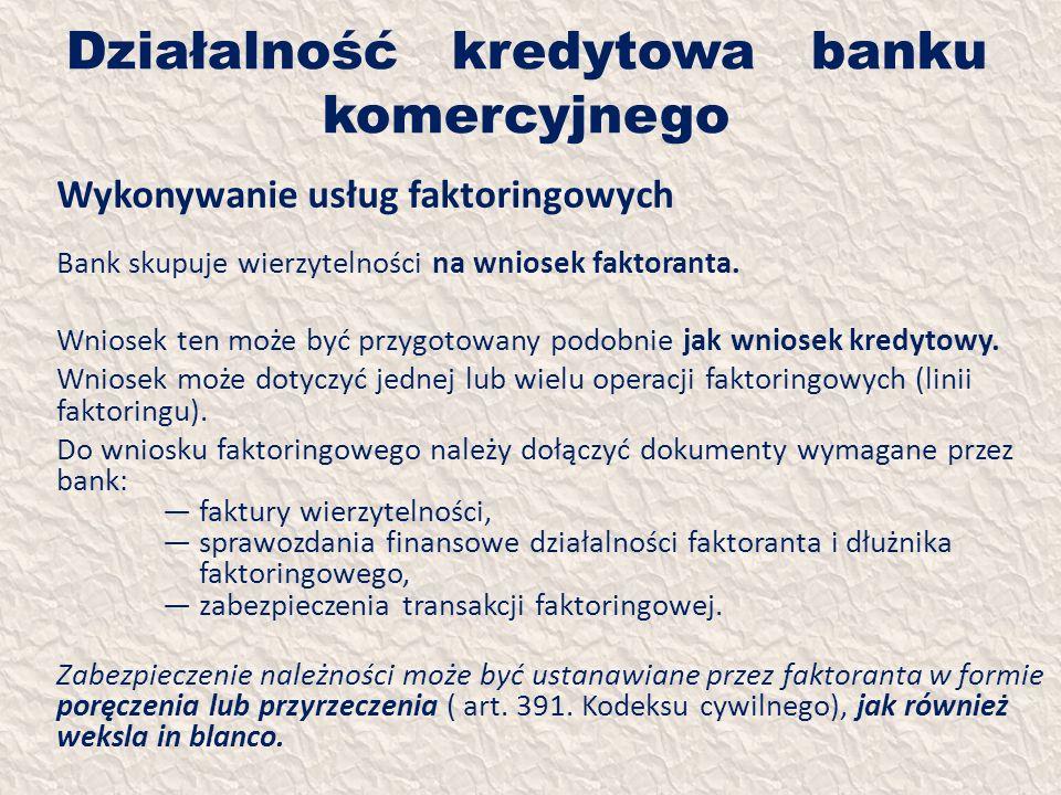 Działalność kredytowa banku komercyjnego Wykonywanie usług faktoringowych Bank skupuje wierzytelności na wniosek faktoranta. Wniosek ten może być przy