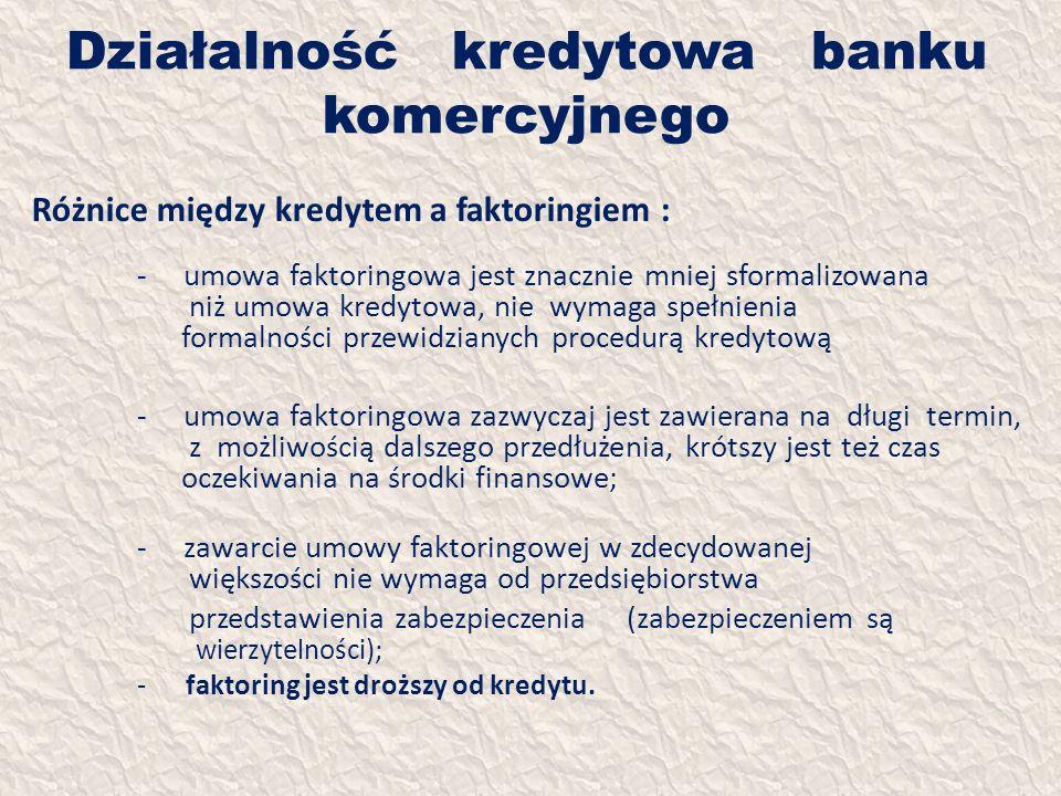 Działalność kredytowa banku komercyjnego Różnice między kredytem a faktoringiem : - umowa faktoringowa jest znacznie mniej sformalizowana niż umowa kr
