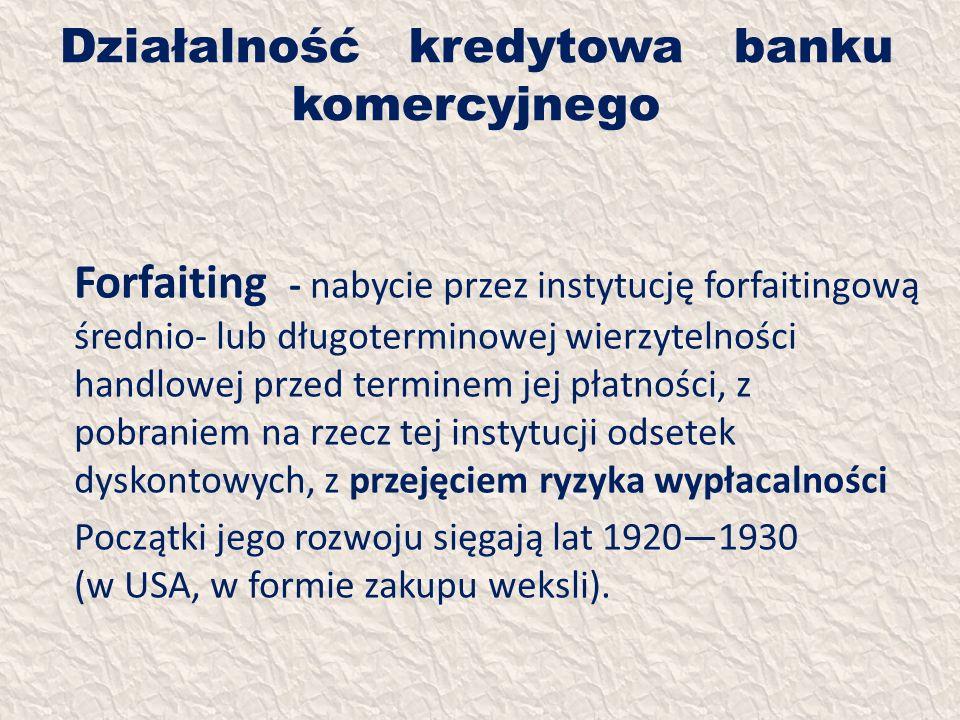 Działalność kredytowa banku komercyjnego Forfaiting - nabycie przez instytucję forfaitingową średnio- lub długoterminowej wierzytelności handlowej prz