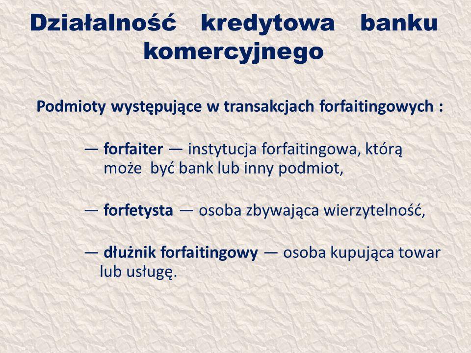 Działalność kredytowa banku komercyjnego Podmioty występujące w transakcjach forfaitingowych : forfaiter instytucja forfaitingowa, którą może być bank