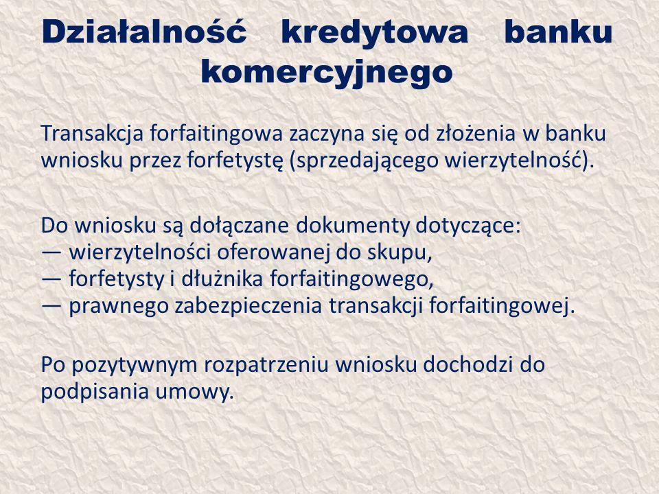 Działalność kredytowa banku komercyjnego Transakcja forfaitingowa zaczyna się od złożenia w banku wniosku przez forfetystę (sprzedającego wierzytelnoś