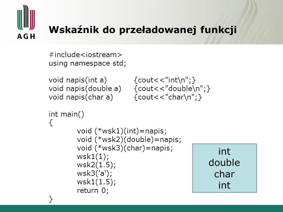 Wskaźnik do przeładowanej funkcji #include using namespace std; void napis(int a){cout<<