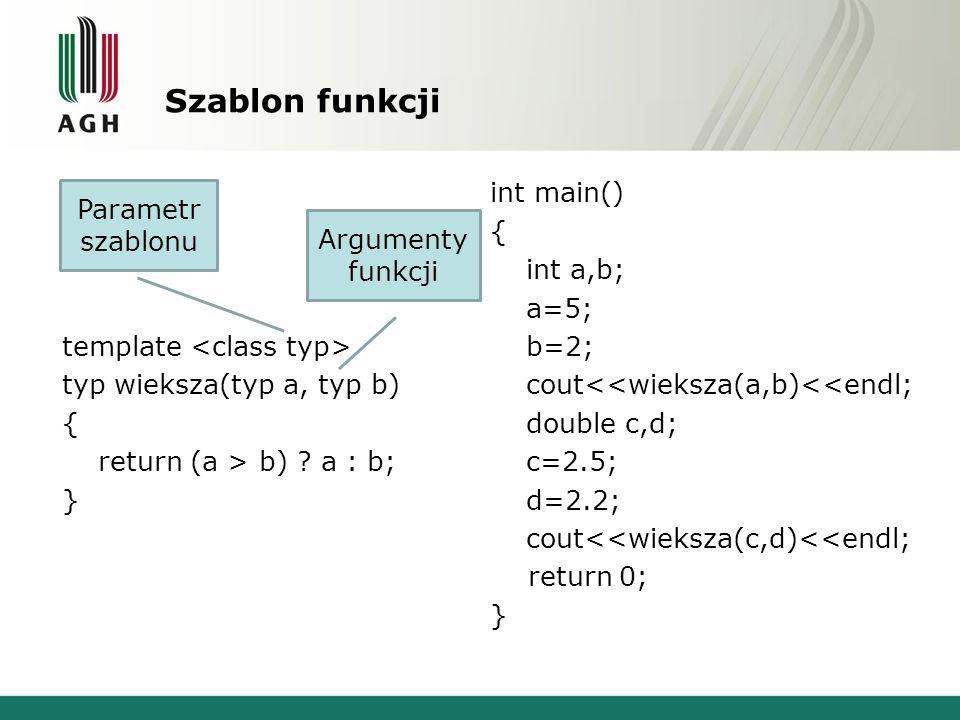 Szablon funkcji template typ wieksza(typ a, typ b) { return (a > b) .