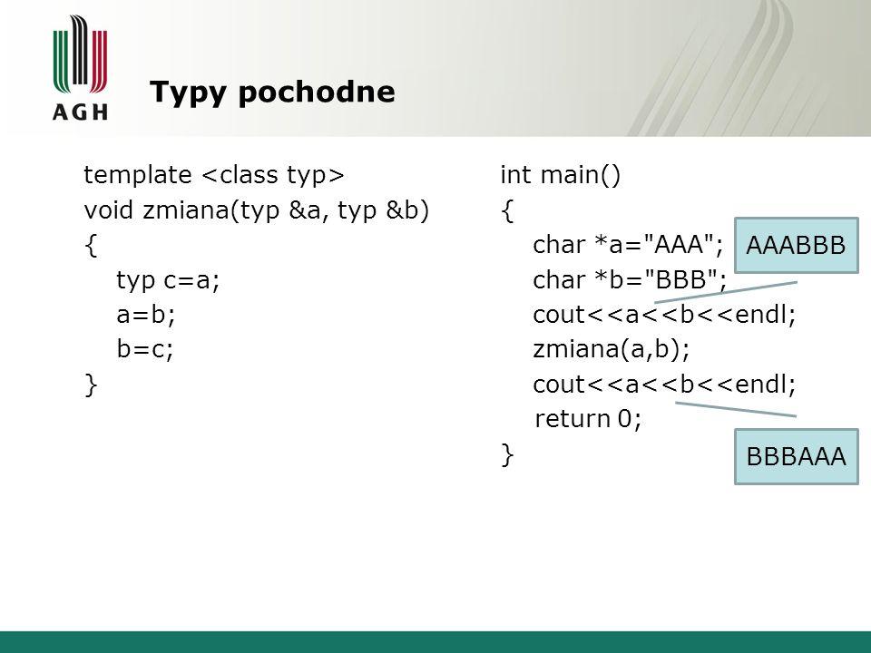 Typy pochodne template void zmiana(typ &a, typ &b) { typ c=a; a=b; b=c; } int main() { char *a= AAA ; char *b= BBB ; cout<<a<<b<<endl; zmiana(a,b); cout<<a<<b<<endl; return 0; } AAABBB BBBAAA