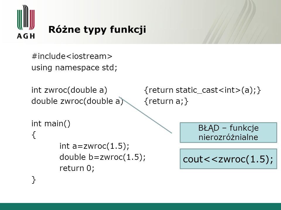 Argumenty domniemane #include using namespace std; void napis(int a){cout<< int\n ;} void napis(int a, double b=0){cout<< int, double\n ;} int main() { napis(1,1.5); napis(1); return 0; } BŁĄD – pasuje do obu funkcji