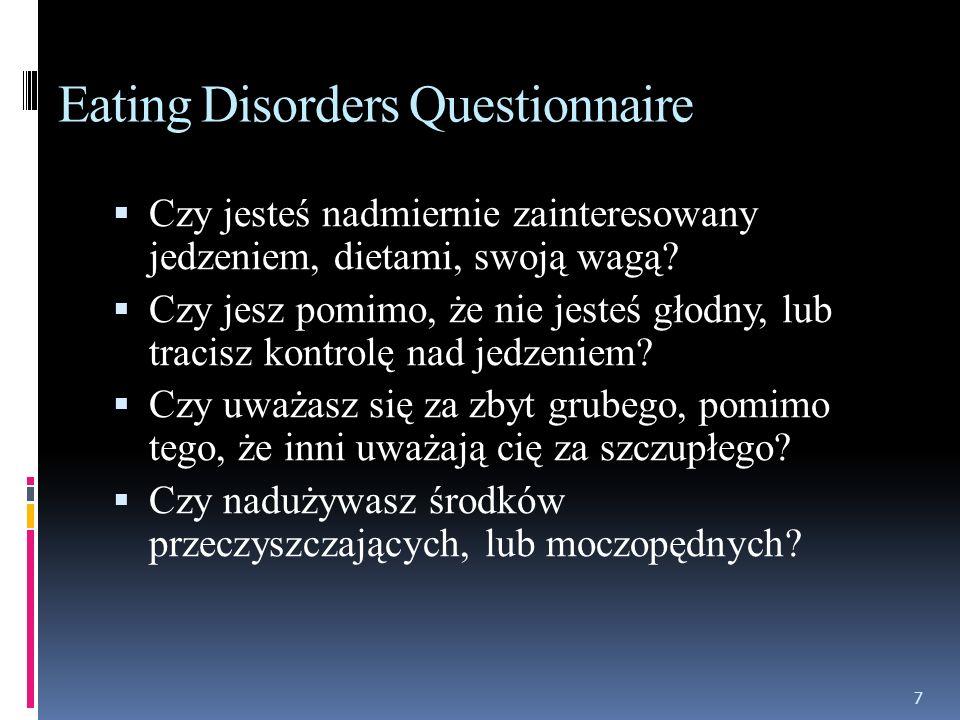 Zaburzenia odżywiania - fakty 1% dziewcząt w okresie adolescencji cierpi na anoreksję 5% kobiet w wieku 20-25 lat choruje na bulimię na 10 przypadków anoreksji u kobiet przypada jeden przypadek u mężczyzn 5-20% osób chorujących na anoreksję umiera (pomimo prób leczenia) 37