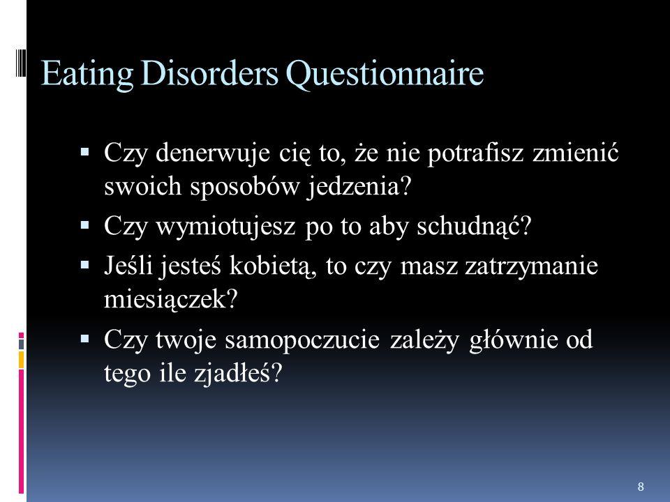 Eating Disorders Questionnaire Czy denerwuje cię to, że nie potrafisz zmienić swoich sposobów jedzenia.
