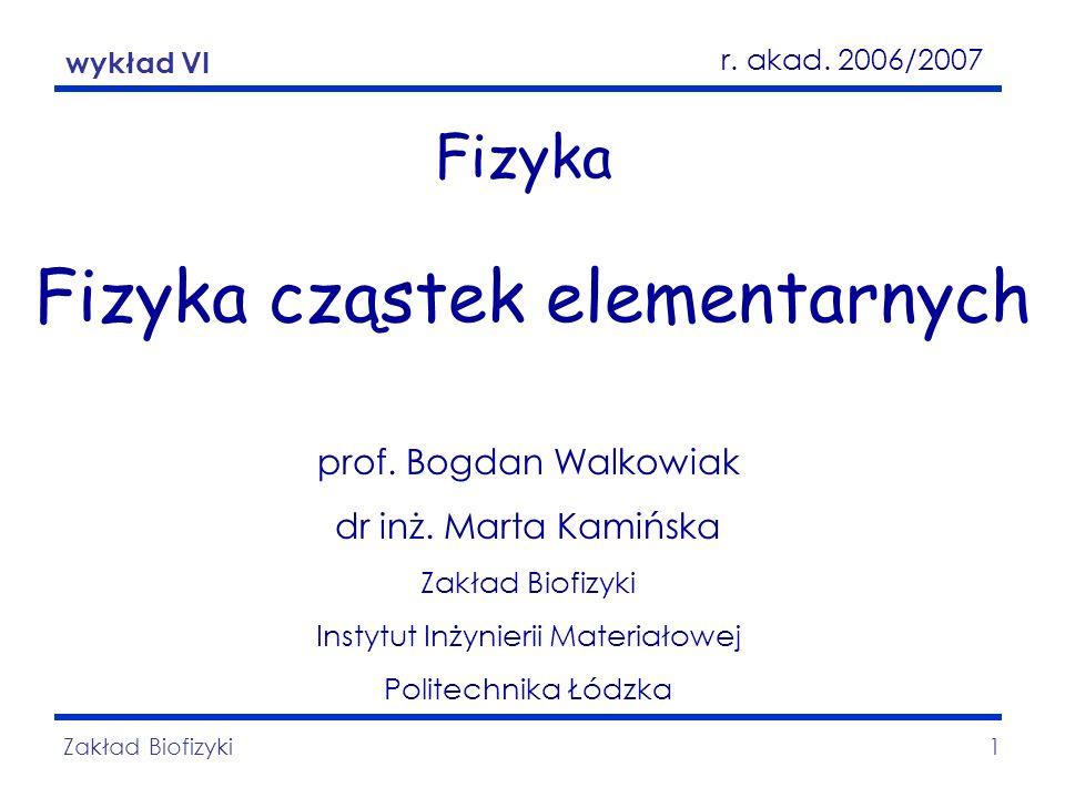 Fizyka cząstek elementarnych Zakład Biofizyki22 Symetria cząstka-antycząstka Zasada symetrii cząstka-antycząstka zwana jest niezmienniczością względem sprzężenia ładunkowego.