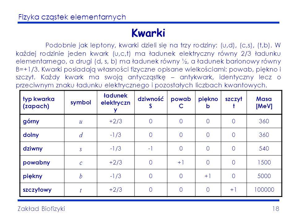 Fizyka cząstek elementarnych Zakład Biofizyki18 Kwarki Podobnie jak leptony, kwarki dzieli się na trzy rodziny: (u,d), (c,s), (t,b). W każdej rodzinie