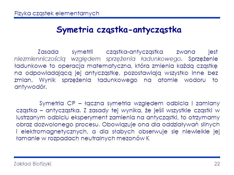 Fizyka cząstek elementarnych Zakład Biofizyki22 Symetria cząstka-antycząstka Zasada symetrii cząstka-antycząstka zwana jest niezmienniczością względem