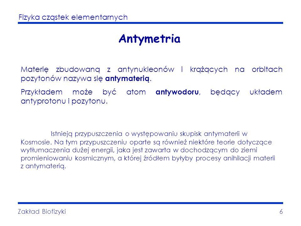 Fizyka cząstek elementarnych Zakład Biofizyki6 Antymetria Materię zbudowaną z antynukleonów i krążących na orbitach pozytonów nazywa się antymaterią.