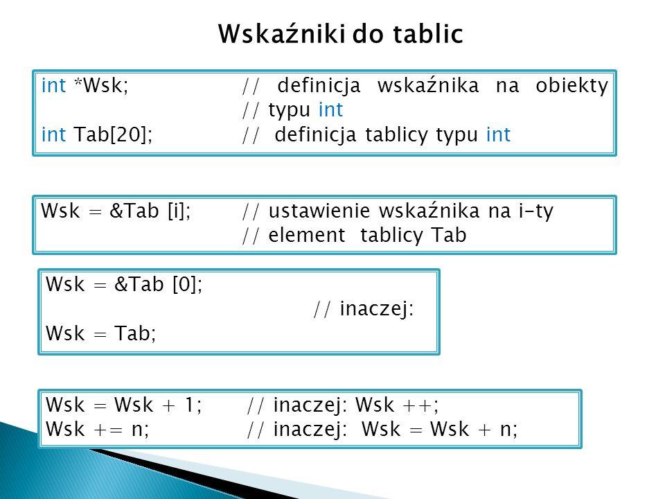 Wskaźniki do tablic int *Wsk;// definicja wskaźnika na obiekty // typu int int Tab[20];// definicja tablicy typu int Wsk = &Tab [i];// ustawienie wskaźnika na i-ty // element tablicy Tab Wsk = &Tab [0]; // inaczej: Wsk = Tab; Wsk = Wsk + 1; // inaczej: Wsk ++; Wsk += n; // inaczej: Wsk = Wsk + n;