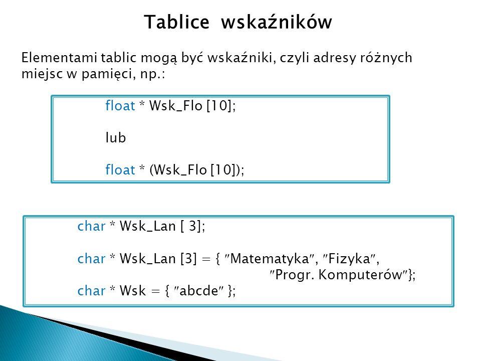 Tablice wskaźników Elementami tablic mogą być wskaźniki, czyli adresy różnych miejsc w pamięci, np.: float * Wsk_Flo [10]; lub float * (Wsk_Flo [10]); char * Wsk_Lan [ 3]; char * Wsk_Lan [3] = { Matematyka, Fizyka, Progr.