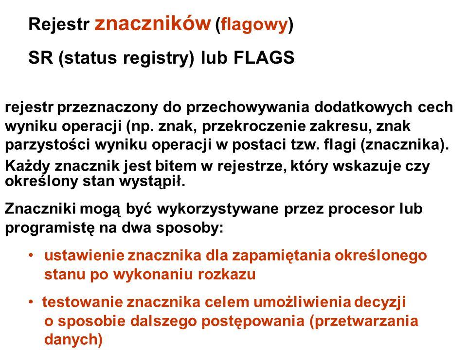 Rejestry stanu/kontrolne FLAGS IP Rejestry stanu/kontrolne OFOF DFDF IFIF TFTF SFSF ZFZF AFAF PFPF CFCF Bity rejestru flagowego 150 0