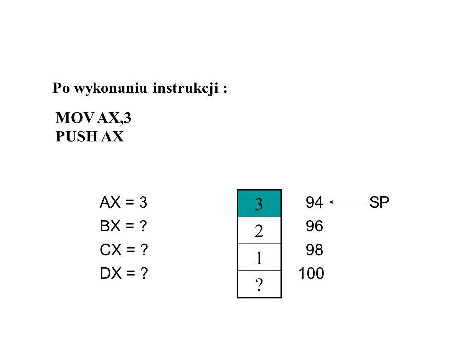 ? 2 1 ? AX = 2 CX = ? DX = ? BX = ?96 98 94 100 SP Po wykonaniu instrukcji : MOV AX,2 PUSH AX