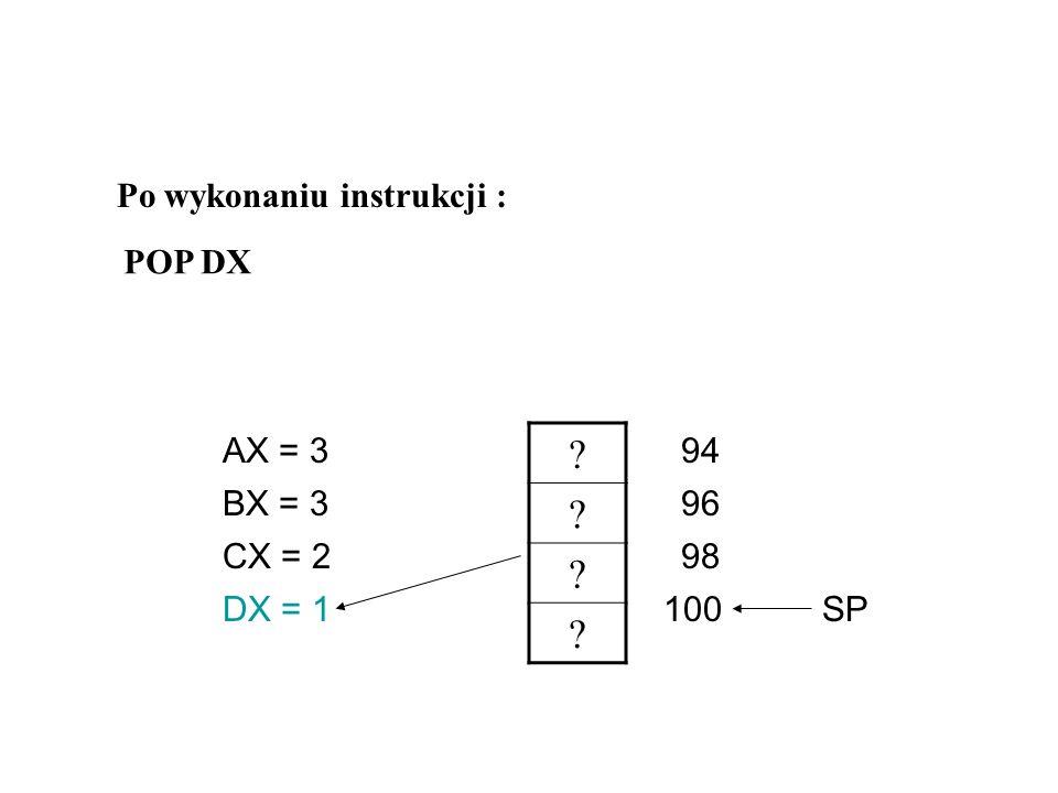 ? ? 1 ? AX = 3 CX = 2 DX = ? BX = 396 98 94 100 SP Po wykonaniu instrukcji : POP CX