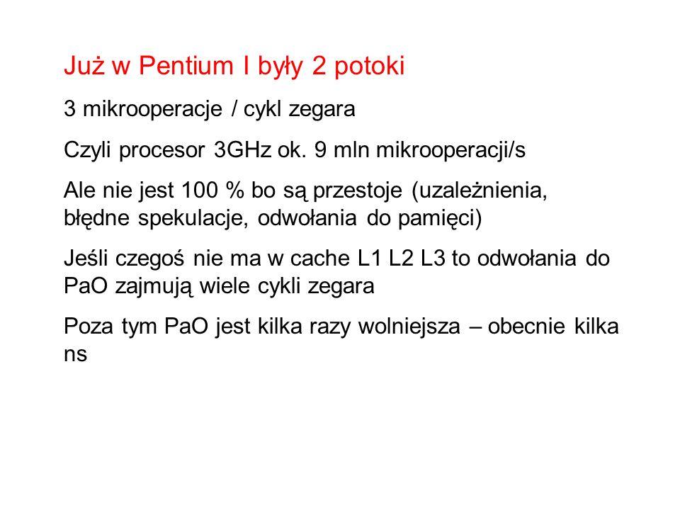 Rejestry ALU Cache PaO Rejestry ALU Cache Dwa procesory fizyczne Rejestry1 Wspólne ALU Wspólny Cache Rejestry2 PaO Dwa procesory logiczne