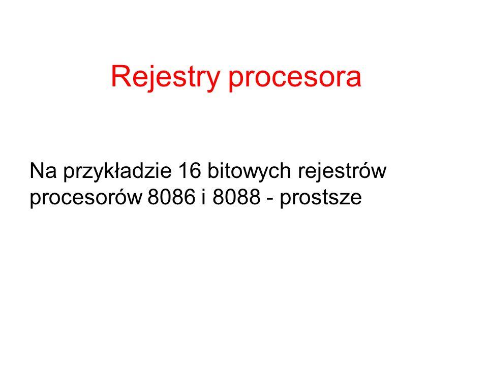 zawartość rejestru segmentowego *16 podaje adres początku segmentu od tego początku odsuwamy się o liczbę komórek podaną w adresie efektywnym adres efektywny jest 16 bitowy to pozwala zaadresować 65536B=64kB pamięć jest widziana przez procesor jako okno O wielkości 64kB okno to można przesuwać przeładowując rejestry segmentowe Interpretacja adresu fizycznego