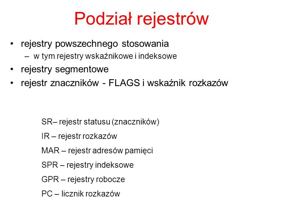 Podział rejestrów rejestry powszechnego stosowania –w tym rejestry wskaźnikowe i indeksowe rejestry segmentowe rejestr znaczników - FLAGS i wskaźnik rozkazów SR– rejestr statusu (znaczników) IR – rejestr rozkazów MAR – rejestr adresów pamięci SPR – rejestry indeksowe GPR – rejestry robocze PC – licznik rozkazów