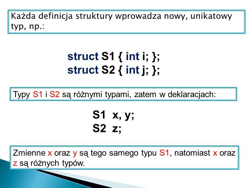 Każda definicja struktury wprowadza nowy, unikatowy typ, np.: struct S1 { int i; }; struct S2 { int j; }; Typy S1 i S2 są różnymi typami, zatem w dekl