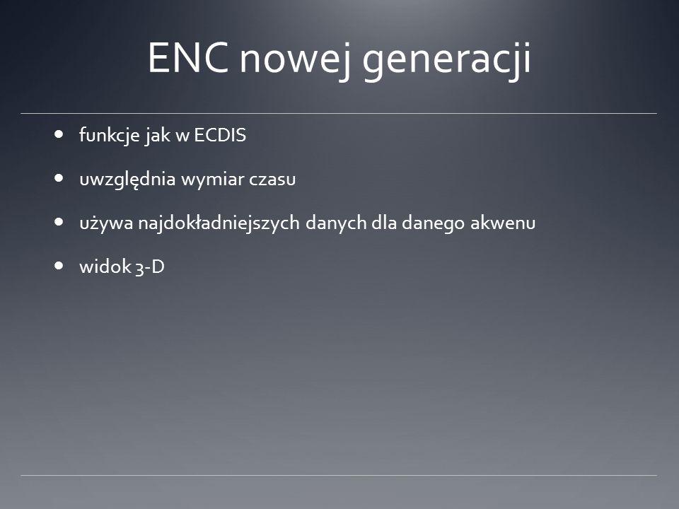 ENC nowej generacji funkcje jak w ECDIS uwzględnia wymiar czasu używa najdokładniejszych danych dla danego akwenu widok 3-D