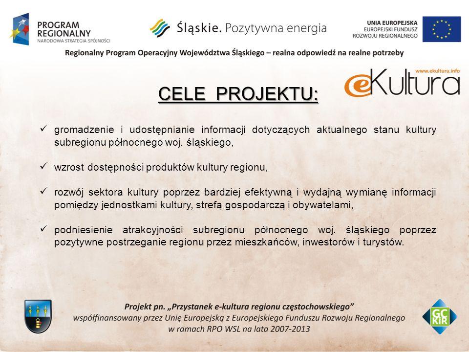 CELE PROJEKTU: gromadzenie i udostępnianie informacji dotyczących aktualnego stanu kultury subregionu północnego woj.