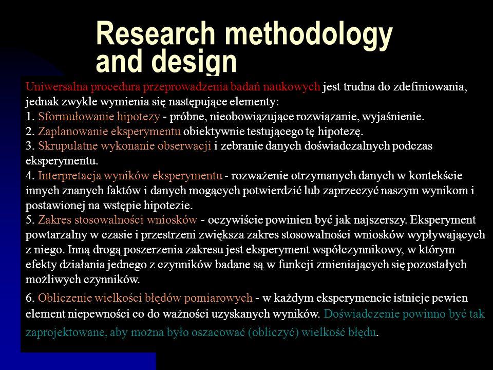 Research methodology and design Uniwersalna procedura przeprowadzenia badań naukowych jest trudna do zdefiniowania, jednak zwykle wymienia się następu