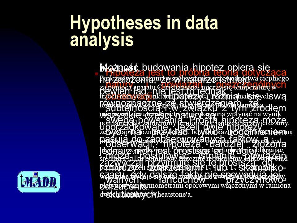 Hypotheses in data analysis n Hipoteza jest to próbna teoria dotycząca natury i powiązań poszczególnych obserwacji. Hipotezy różnią się swą subtelnośc