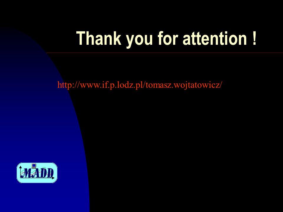 Thank you for attention ! http://www.if.p.lodz.pl/tomasz.wojtatowicz/