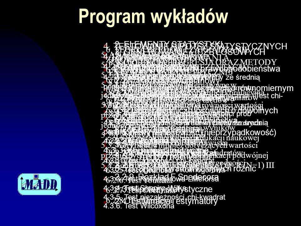 Program wykładów n 2. ELEMENTY STATYSTYKI n 2.1. Pojęcia podstawowe n 2.2. Wybrane rozkłady prawdopodobieństwa n 2.2.1. Rozkład dwumianowy n 2.2.2. Ro