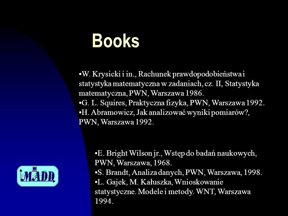 Books W. Krysicki i in., Rachunek prawdopodobieństwa i statystyka matematyczna w zadaniach, cz. II, Statystyka matematyczna, PWN, Warszawa 1986. G. L.