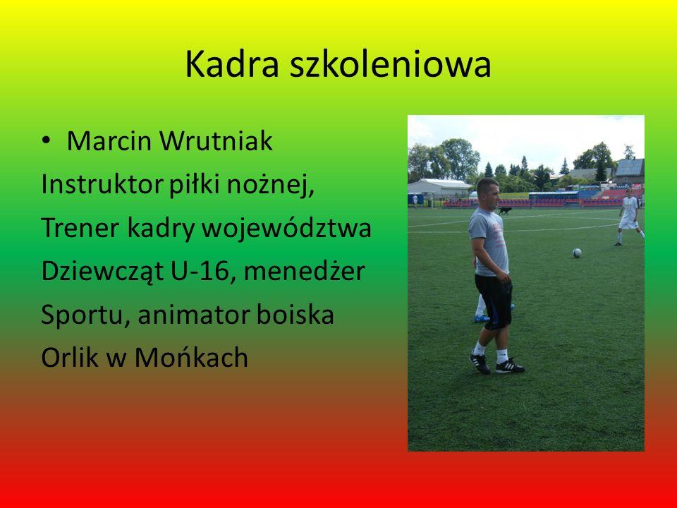 Kadra szkoleniowa Marcin Wrutniak Instruktor piłki nożnej, Trener kadry województwa Dziewcząt U-16, menedżer Sportu, animator boiska Orlik w Mońkach