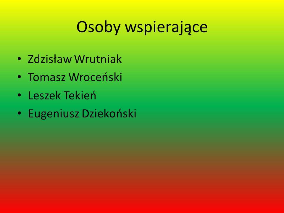 Osoby wspierające Zdzisław Wrutniak Tomasz Wroceński Leszek Tekień Eugeniusz Dziekoński