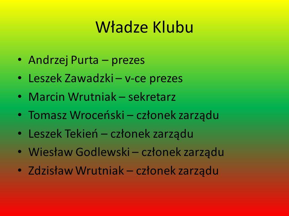 Władze Klubu Andrzej Purta – prezes Leszek Zawadzki – v-ce prezes Marcin Wrutniak – sekretarz Tomasz Wroceński – członek zarządu Leszek Tekień – człon