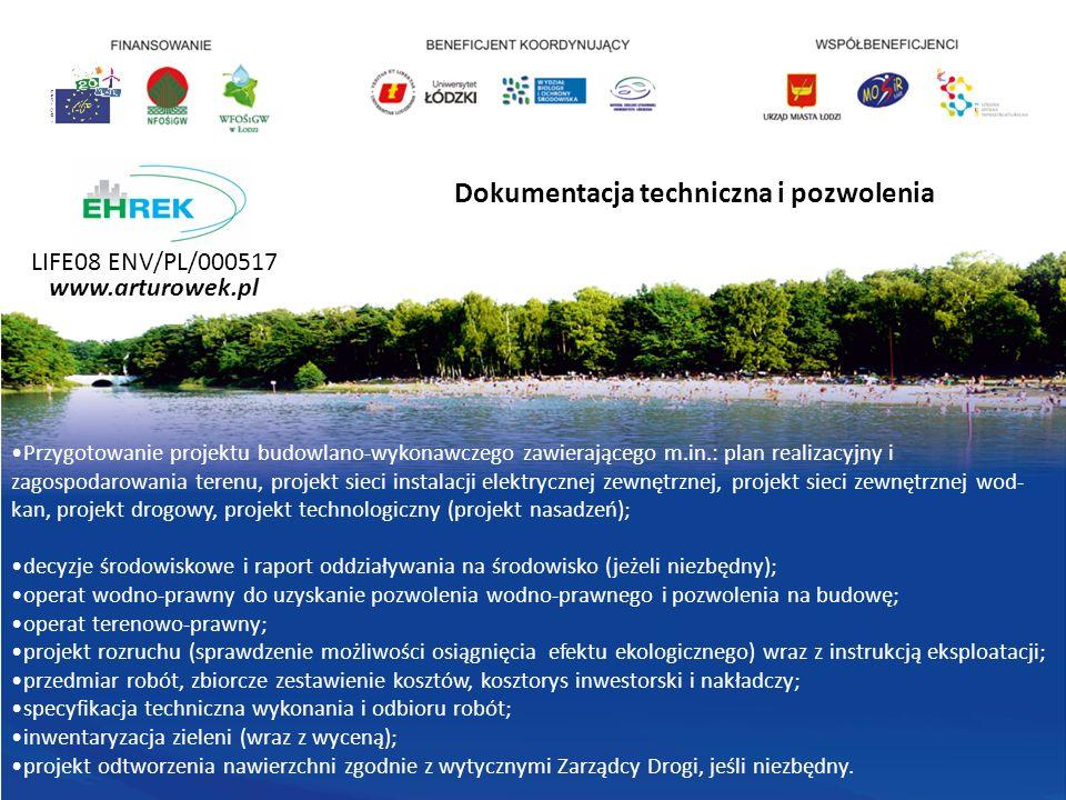 Przygotowanie projektu budowlano-wykonawczego zawierającego m.in.: plan realizacyjny i zagospodarowania terenu, projekt sieci instalacji elektrycznej zewnętrznej, projekt sieci zewnętrznej wod- kan, projekt drogowy, projekt technologiczny (projekt nasadzeń); decyzje środowiskowe i raport oddziaływania na środowisko (jeżeli niezbędny); operat wodno-prawny do uzyskanie pozwolenia wodno-prawnego i pozwolenia na budowę; operat terenowo-prawny; projekt rozruchu (sprawdzenie możliwości osiągnięcia efektu ekologicznego) wraz z instrukcją eksploatacji; przedmiar robót, zbiorcze zestawienie kosztów, kosztorys inwestorski i nakładczy; specyfikacja techniczna wykonania i odbioru robót; inwentaryzacja zieleni (wraz z wyceną); projekt odtworzenia nawierzchni zgodnie z wytycznymi Zarządcy Drogi, jeśli niezbędny.