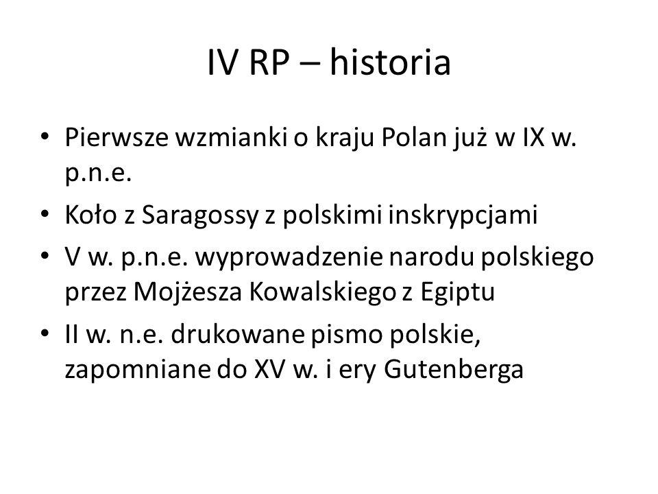 IV RP – historia Pierwsze wzmianki o kraju Polan już w IX w. p.n.e. Koło z Saragossy z polskimi inskrypcjami V w. p.n.e. wyprowadzenie narodu polskieg