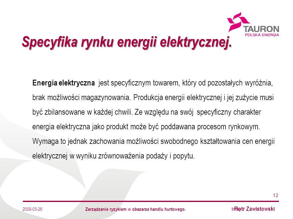 Imię Nazwisko Autora Specyfika rynku energii elektrycznej.
