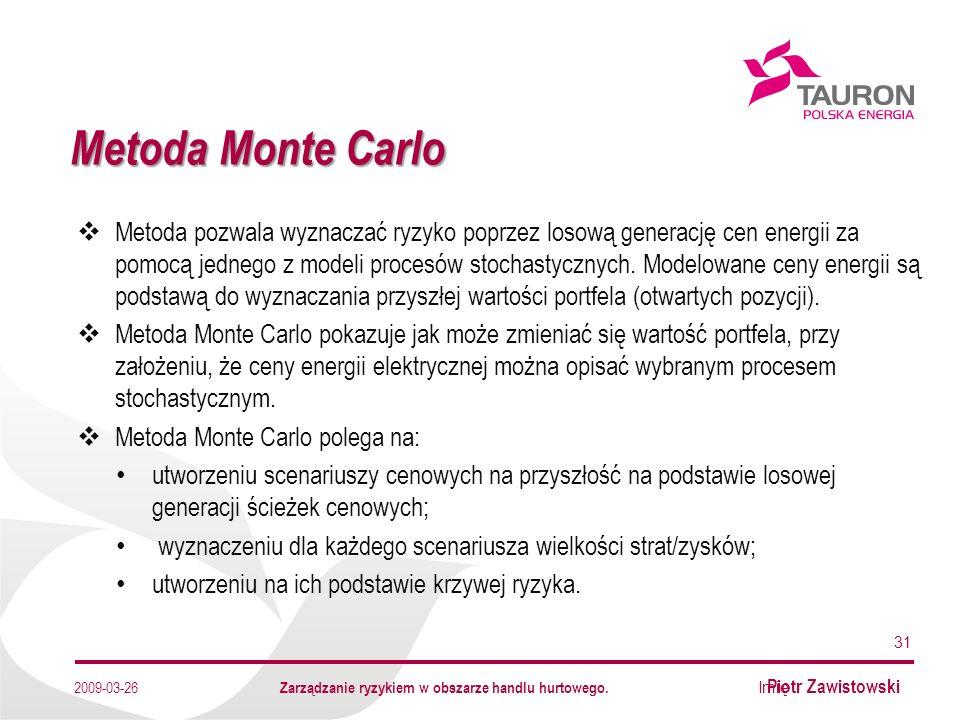 Imię Nazwisko Autora Metoda Monte Carlo 31 2009-03-26 Metoda pozwala wyznaczać ryzyko poprzez losową generację cen energii za pomocą jednego z modeli procesów stochastycznych.