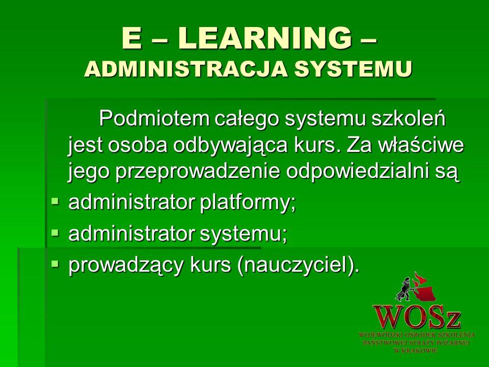 E – LEARNING – ADMINISTRACJA SYSTEMU Podmiotem całego systemu szkoleń jest osoba odbywająca kurs.