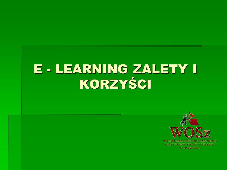 E - LEARNING ZALETY I KORZYŚCI