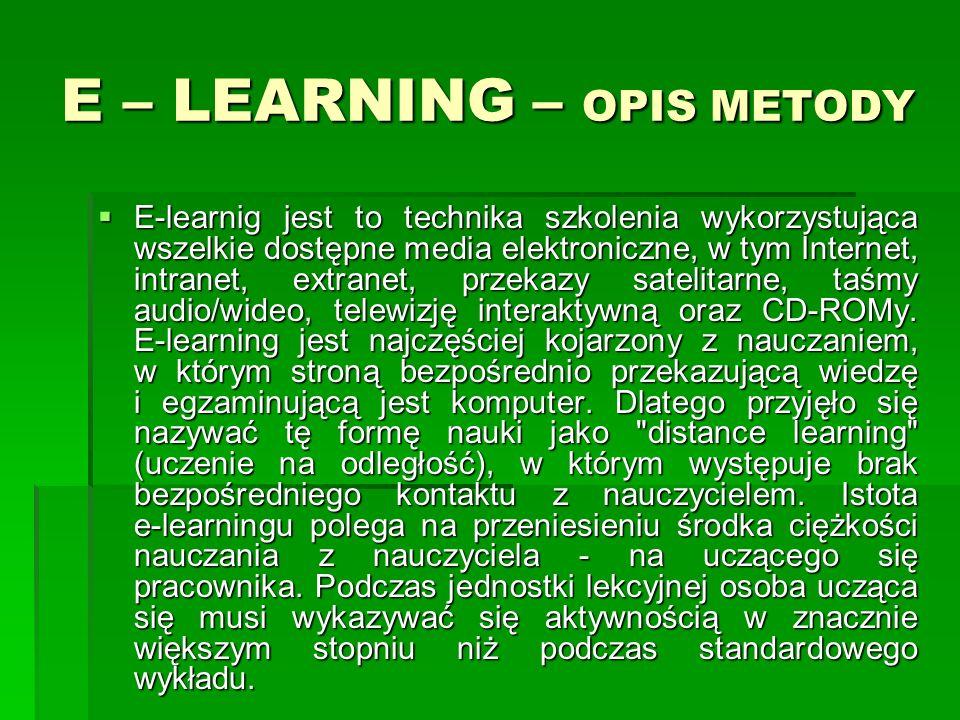 E – LEARNING – OPIS METODY E-learnig jest to technika szkolenia wykorzystująca wszelkie dostępne media elektroniczne, w tym Internet, intranet, extranet, przekazy satelitarne, taśmy audio/wideo, telewizję interaktywną oraz CD-ROMy.