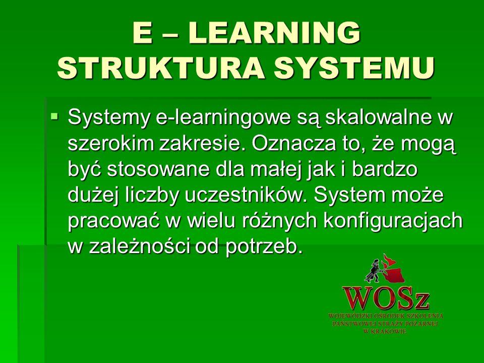 E – LEARNING STRUKTURA SYSTEMU Systemy e-learningowe są skalowalne w szerokim zakresie.