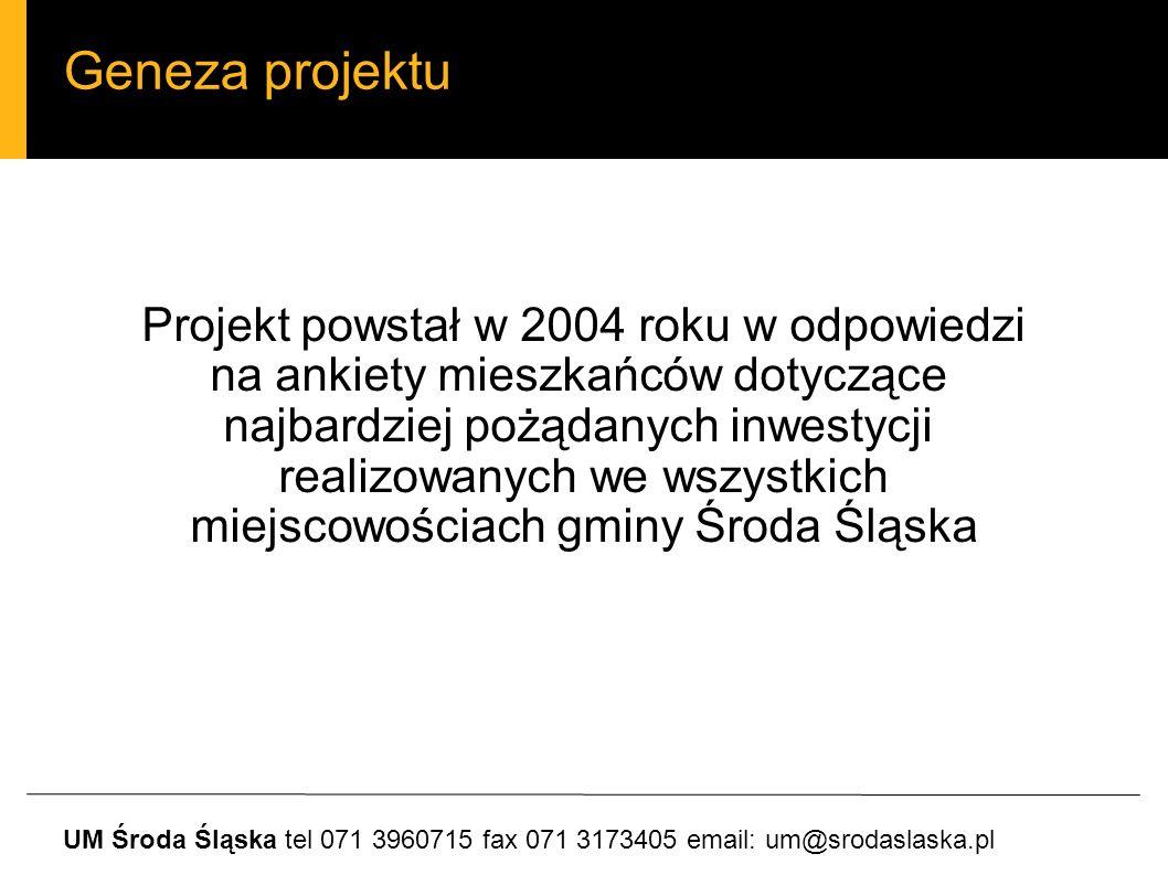 Geneza projektu Projekt powstał w 2004 roku w odpowiedzi na ankiety mieszkańców dotyczące najbardziej pożądanych inwestycji realizowanych we wszystkich miejscowościach gminy Środa Śląska UM Środa Śląska tel 071 3960715 fax 071 3173405 email: um@srodaslaska.pl