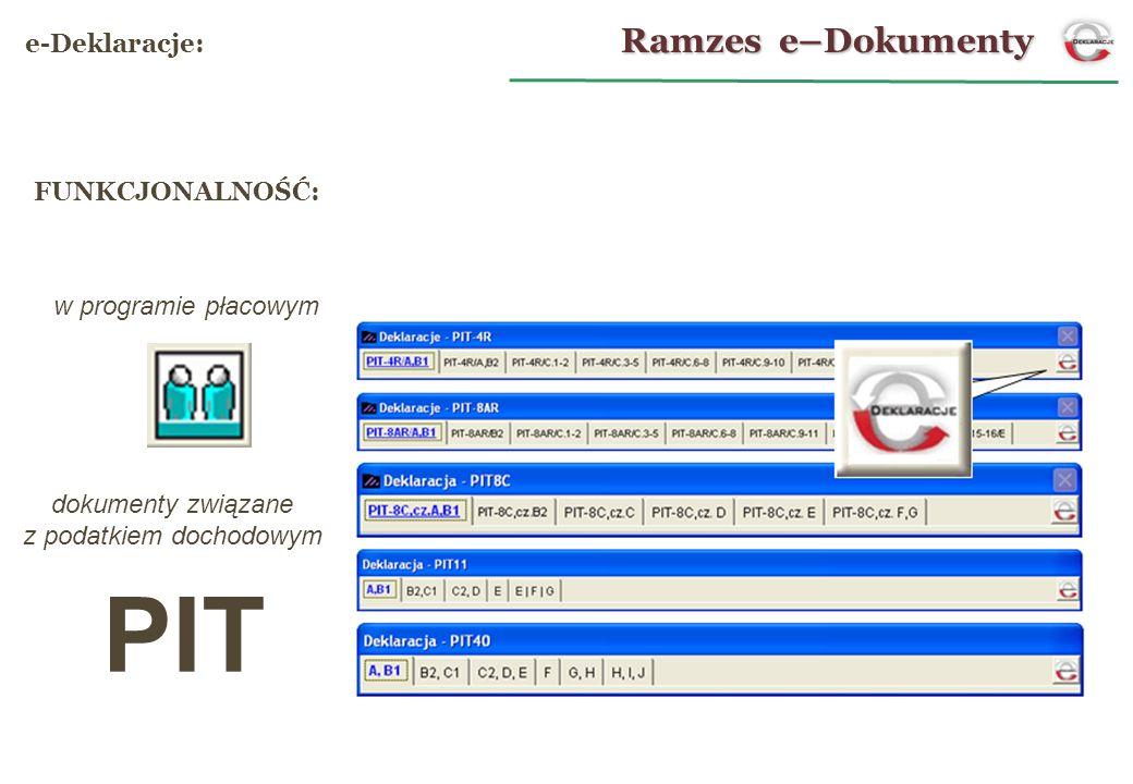 PIT w programie płacowym dokumenty związane z podatkiem dochodowym FUNKCJONALNOŚĆ: Ramzes e–Dokumenty e-Deklaracje: