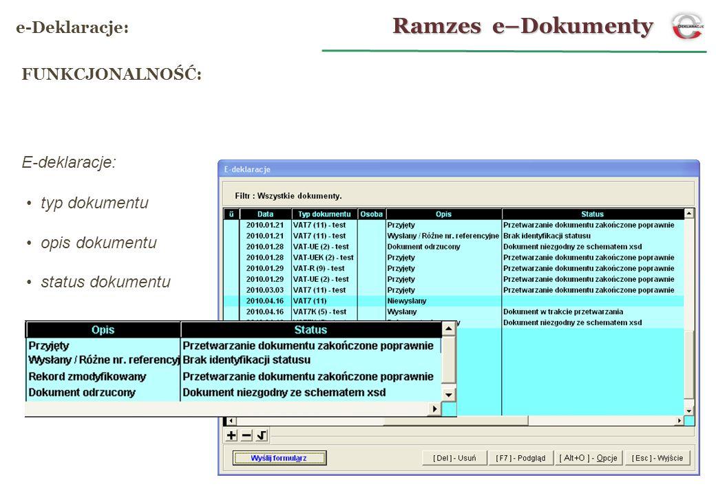 E-deklaracje: typ dokumentu opis dokumentu status dokumentu Ramzes e–Dokumenty e-Deklaracje: FUNKCJONALNOŚĆ: