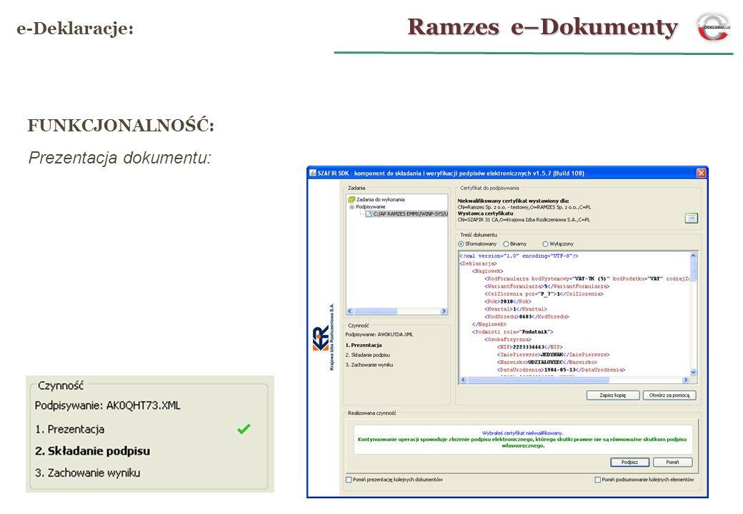 Prezentacja dokumentu: Ramzes e–Dokumenty e-Deklaracje: