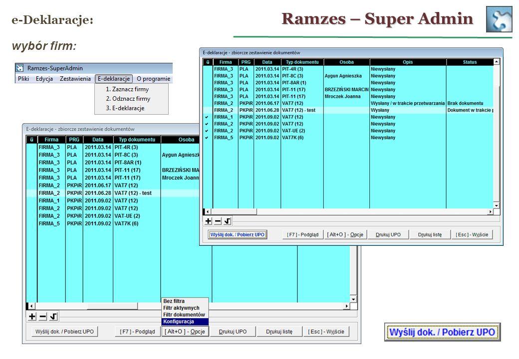 Ramzes – Super Admin e-Deklaracje: wybór firm: