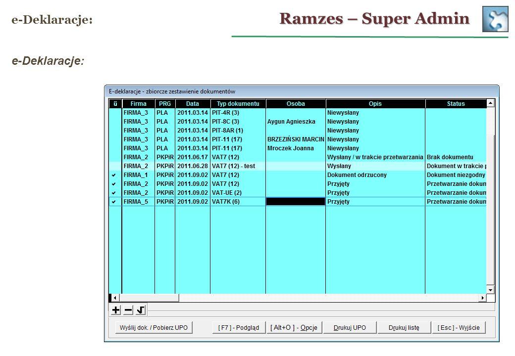 Ramzes – Super Admin e-Deklaracje: