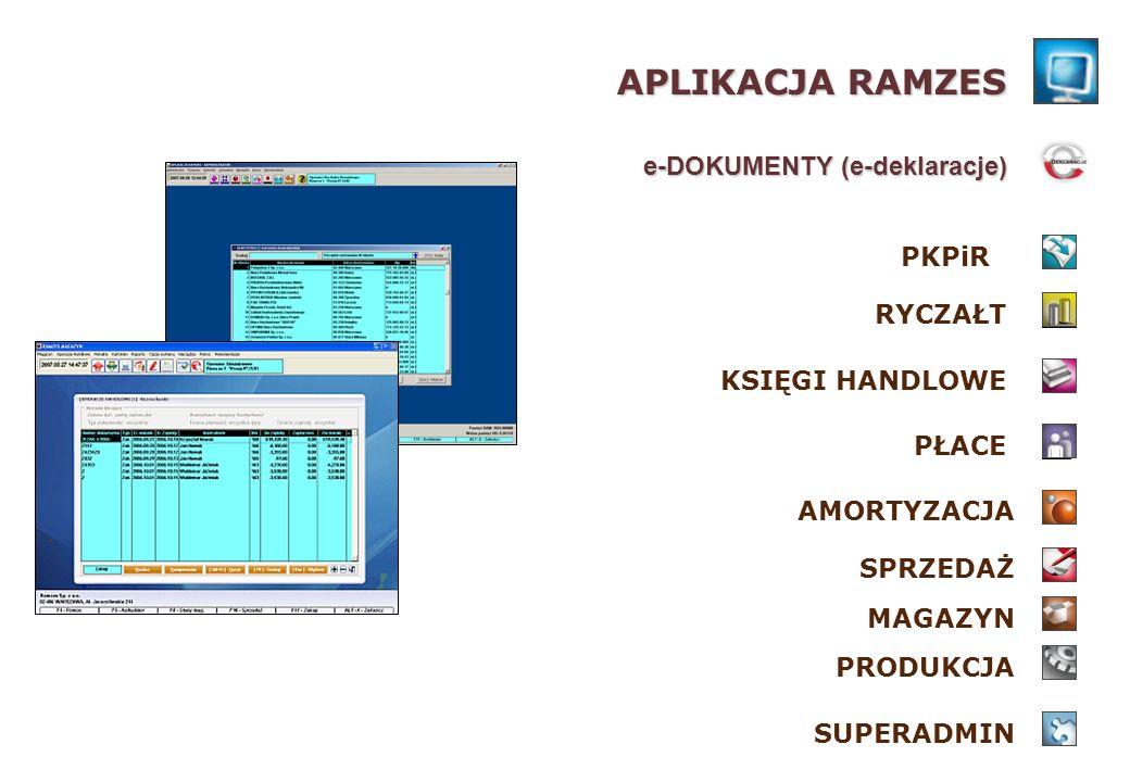 pozwala w pełni wykorzystać zalety podpisu elektronicznego eliminuje konieczność korzystania z dodatkowego oprogramowania podczas podpisywania dokumentu intuicyjny i przejrzysty interfejs, prostota obsługi wspólna aktywacja dla wszystkich posiadanych modułów Aplikacji Ramzes Ramzes e–Dokumenty ZALETY PROGRAMU: